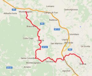 mappa tappa n11 da Monteriggioni a Siena