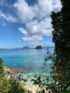 panorama spiaggia e vegetazione acqua cristallina nelle filippine